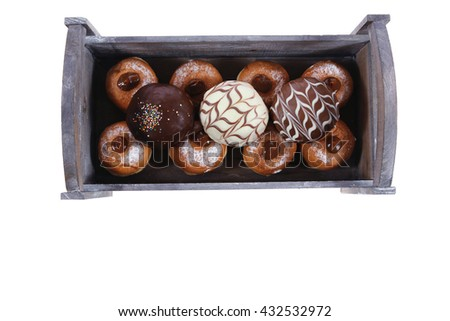 traditional jewish holiday chanuka donuts in retro vintage tray isolated on white background - stock photo