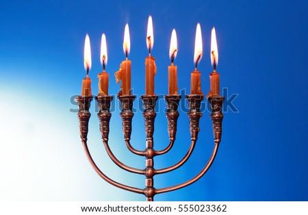 Traditional jewish menorah with lighting candles on nice blue background & Traditional Jewish Menorah Lighting Candles On Stock Photo ... azcodes.com