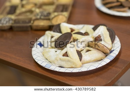 Traditional Jewish pastries  Hamantaschen. - stock photo