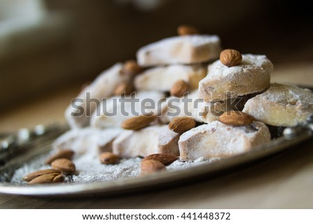 Traditional Kavala Cookies with almond in a silver tray
