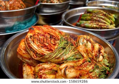 Traditional Korean food: spicy kimchi - stock photo