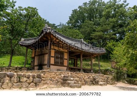 Traditional Korean garden house taken during summer. Sosewon, South Korea - stock photo