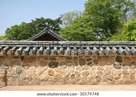 traditional korean wall in an ancient temple in gyeongju - stock photo