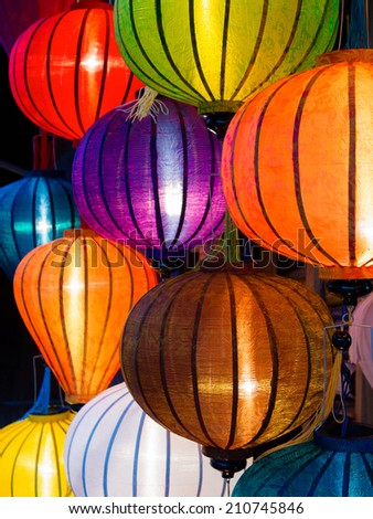Traditional lamps in old town shop, Hoi An, Central Vietnam. - stock photo