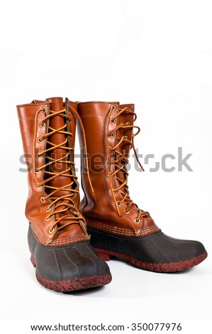 Traditional leather and rubber gum boots, also known as duck boots.