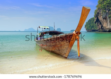 Traditional longtail boats on the Railay beach. Krabi province. Thailand