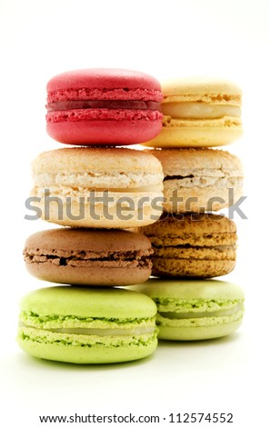 Traditional macarons on a white background