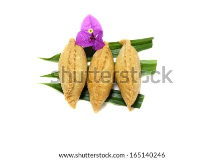 Traditional Malay Cake Karipap / Curry puff on white background - stock photo