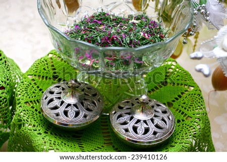 traditional malay wedding decoration equipment - stock photo