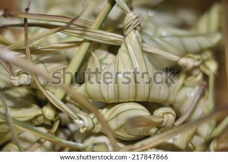 Traditional malaysian food when celebrating hari raya festival . This food called ketupat palas. - stock photo