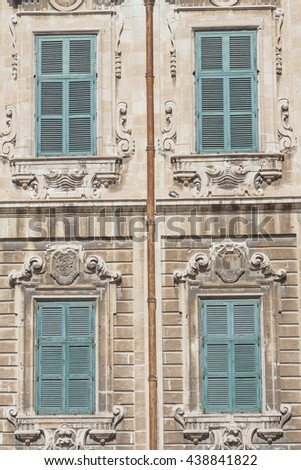 Traditional Maltese architecture in Valletta, Malta