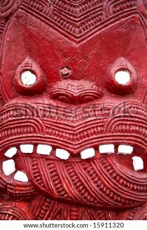 Traditional Maori Carving - stock photo