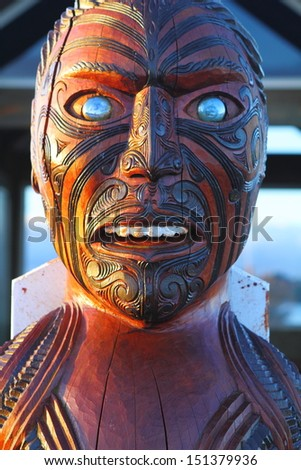 Traditional Maori carving in national historic park in Rotorua, North Island, New Zealand - stock photo