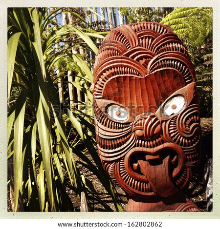 Traditional Maori carving. New Zealand - stock photo