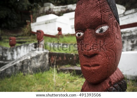 Traditional Maori carvings in Rotorua, New Zealand