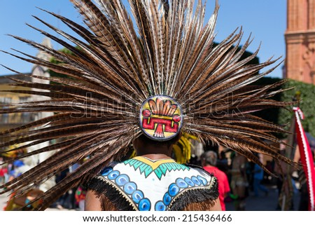 traditional Mayan feather headdress in Mexico - stock photo