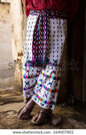 traditional mayan mens pants in Lake Atitlan area in  Guatemala - stock photo