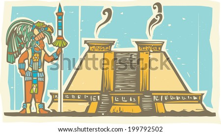 Traditional Mayan Mural image of a Mayan Warrior standing next to a stepped pyramid. - stock photo