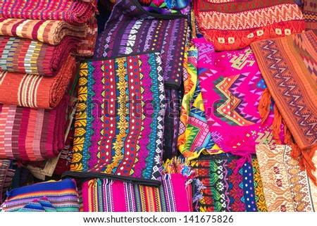 Traditional Mayan Textiles On Market Stall Stock Photo