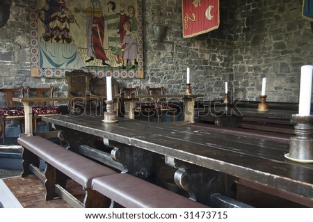 traditional medieval irish english dinner banquet in bunratty castle - stock photo
