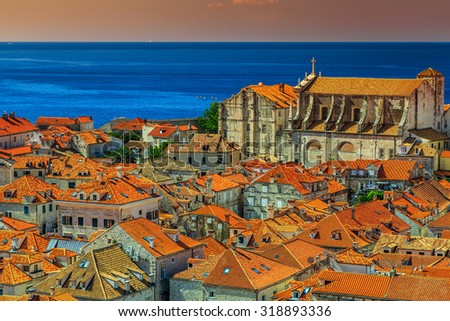 Traditional Mediterranean houses with red tiled roofs,Dubrovnik,Dalmatia,Croatia,Europe - stock photo