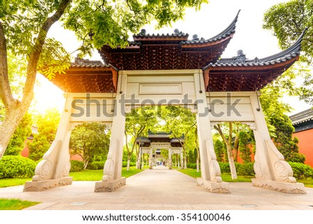 traditional memorial arch in west lakefront,hangzhou, China - stock photo