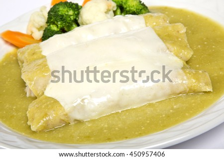 Traditional Mexican, chicken Enchiladas - stock photo