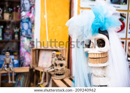 Traditional Mexican woman sculpture Catrina. Day of the Dead, Mexico, Latin America - stock photo