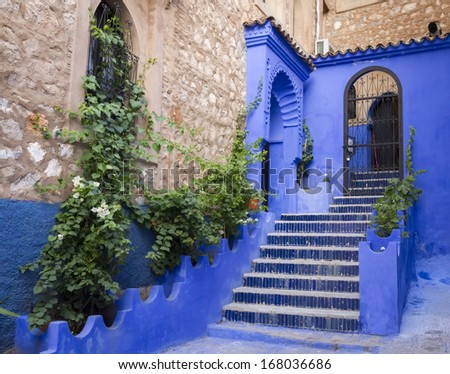 Traditional moroccan architectural details in Chefchaouen, Morocco, Africa  - stock photo