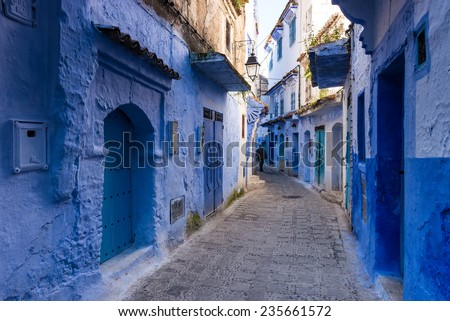 Traditional moroccan architectural details in Chefchaouen, Morocco. / bule city - stock photo