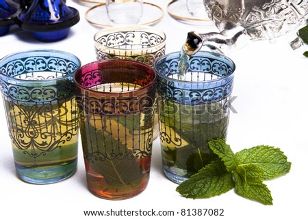 Traditional Moroccan mint tea - stock photo