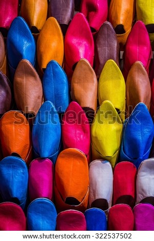 traditional moroccon shoes on  a market - stock photo