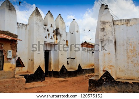 Traditional mud and stick houses, in Wa, Ghana - stock photo