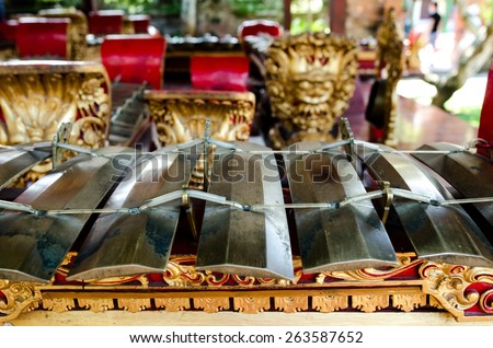 Traditional Musical Instruments, Bali, Indonesia - Traditional musical instruments at Ubud Palace, Bali, Indonesia. - stock photo