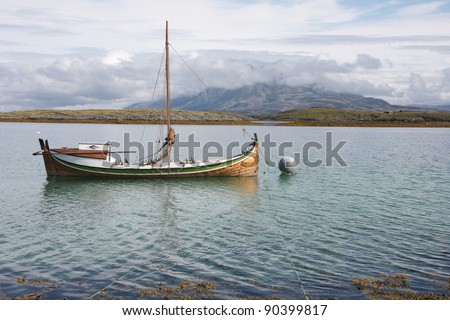 Traditional Nordland boat in Norwegian archipelago