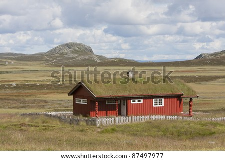 Traditional Norwegian house inland from Hemsedal (Norway). Between road 52 and Fv244. - stock photo