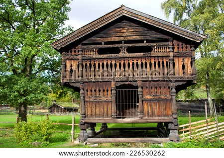 Traditional Norwegian House. The Norwegian Museum of Cultural History, Oslo. - stock photo