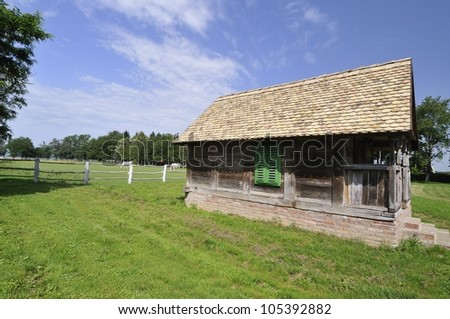 Traditional oak cottage in the farmyard