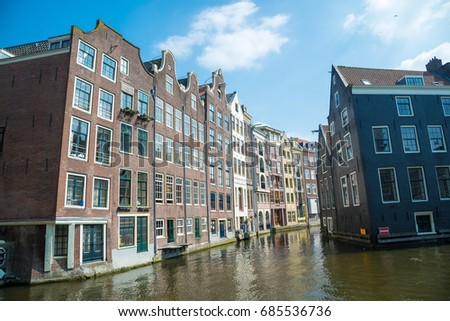 Traditional old buildings in Amsterdam, the Netherlands.