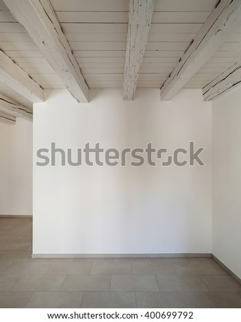 Traditional old house of central europe, empty room, interior - stock photo