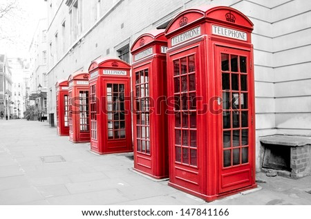 Traditional old red telephone boxes in Covent Garden, London