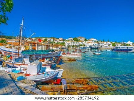 traditional old shipyard in Spetses island in Greece - stock photo