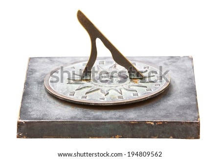 Traditional old sundial clock isolated on white background - stock photo
