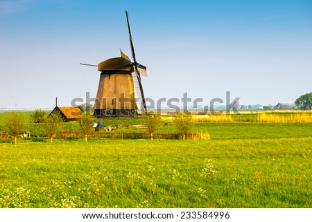 Traditional old windmill ,Netherlands - stock photo