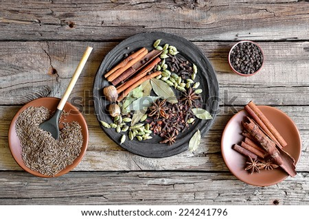 Traditional oriental blend of spices garam masala - stock photo