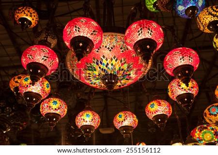 Traditional oriental handmade lamps - stock photo