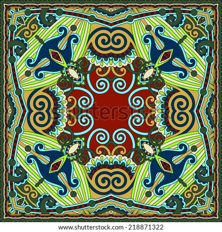 Traditional ornamental floral paisley bandanna. Square ornament. You can use this pattern in the design of carpet, shawl, pillow, cushion, raster version