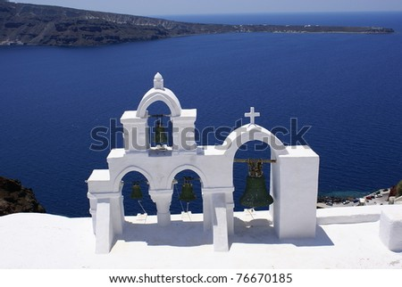 Traditional orthodox church at Thira of Santorini island in Greece - stock photo
