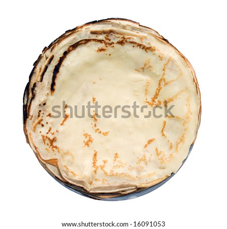 traditional pancakes pile on the white background