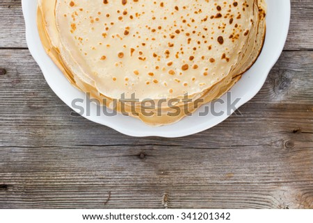 traditional pancakes - top view - stock photo